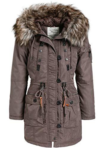 khujo Halle Damen Jacke Winterjacke Parka Nylon Coat (XS, Plum grau)