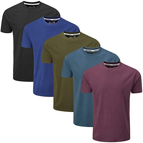 Charles Wilson 5er Packung Einfarbige T-Shirts mit Rundhalsausschnitt (X-Large, Dark Essentials 43)