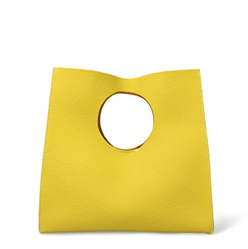 Hoxis Vintage Minimalist Style Soft Pu Leather Handbag Clutch Small Tote (Yellow)