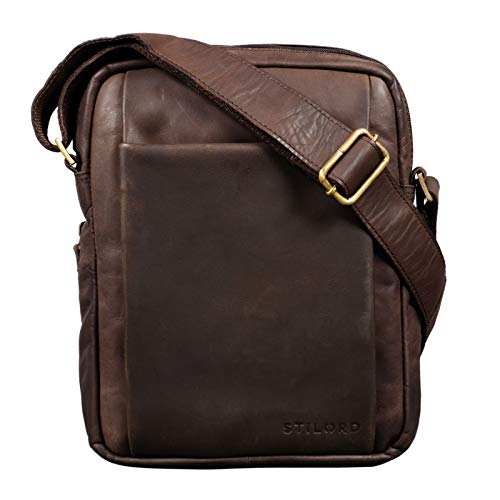 STILORD 'Harry' Borsello Uomo Tracolla in Pelle Borsa Messenger Piccola in Cuoio Vintage Borsa tablet 10.1. pollici, Colore:marrone scuro - pallido