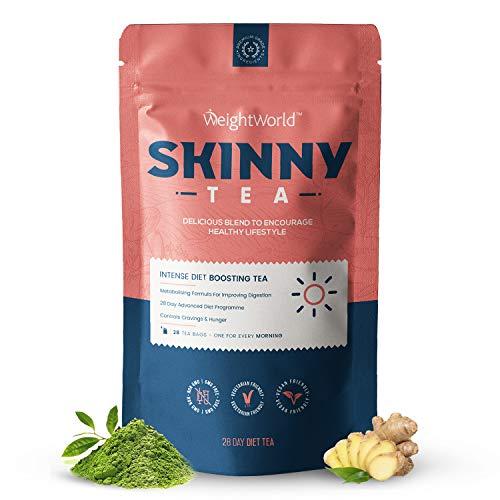 Skinny Tea - 28 Tage Kräuter Tee Kur ohne Zusätze - Grüntee, Oolong & Pu Erh Tee mit Ingwer für Ihren Erfolg & Aktivität - Geprüfte, Pflanzliche Zutaten - 28 Teebeutel - Skinny Tee - Von WeightWorld