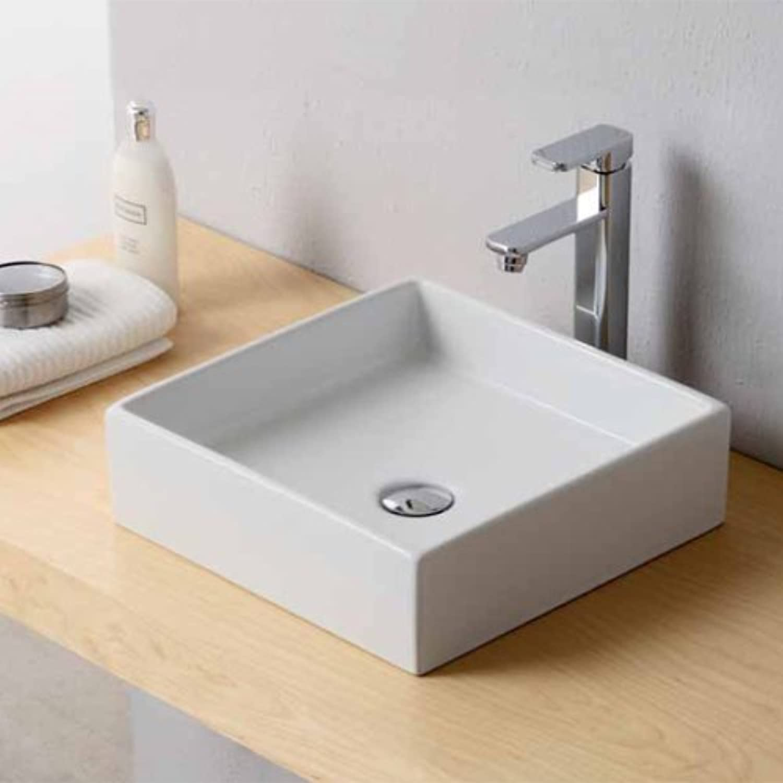 Basin in White Ceramic Square 40?x 40