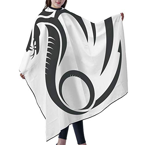 SUPNON Professional Salon Cape Polyester Cape Hair Cutting Cape, Water And Stain Resistant Apron, 55'x66', Flat Simple Dragon Vector Silhouette Illustrations Logo Designs, IS064952