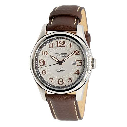 Reloj automático Gabriele D'Annunzio by Giò Colombo en producción limitada, modelo clásico aviator con correa marrón de piel auténtica.
