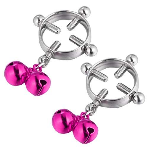 EXCEART Glockennippelringe Edelstahl Brustring Brustklemmen Piercing Schmuckhalter für Frauen Weibliche Dekoration 1 Paar Rosig