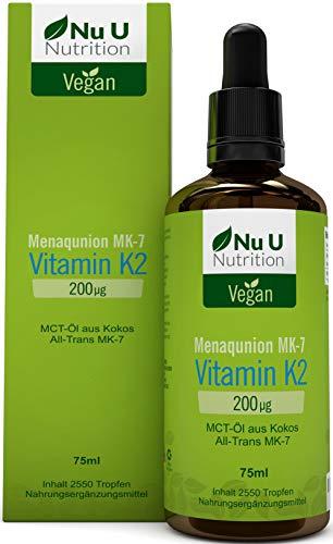 Vitamin K2 MK-7 Tropfen 200 µg (mcg) | 50% MEHR 75ml 2550 Tropfen | hochdosiertes VitaMK7 von Gnosis, Flüssig, All Trans 99% | Kokosnuss MCT Öl mit Menaquinon | vegan | hergestellt in Deutschland