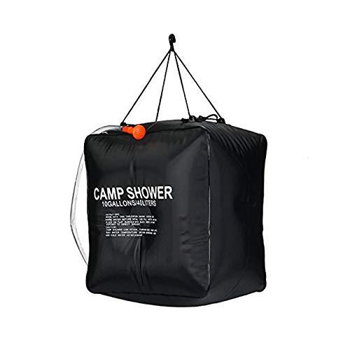 SuoSengHred Solarduschen, Campingdusche Solardusche Tasche, 40L Tragbare Solar Gartendusche Outdoor Warmwasser Dusche Reisedusche für Camping, Outdoor, Survival (Color : Black)