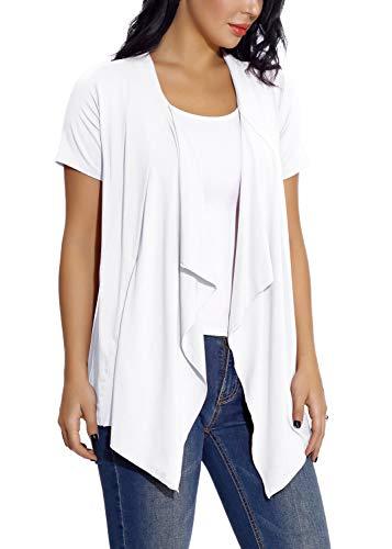EXCHIC Damen Cardigan mit offener Vorderseite Unregelmäßiger Saum Kurzarm-Outfits (S, Weiß)