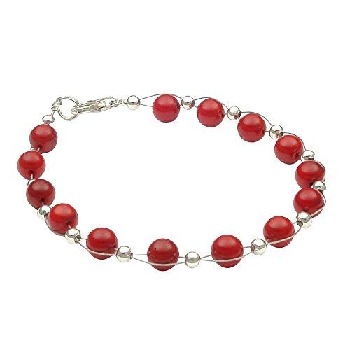 Braccialetto in vero bambù di corallo rosso bracciale gioielli bracciale catena corallo bracciale donna