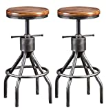 Set of 2 Industrial Bar Stool-Vintage Adjustable Round Wood Metal Swivel Bar Stool-Cast Iron-23-30 Inch Tall Counter Bar Height Farmhouse Kitchen Stools