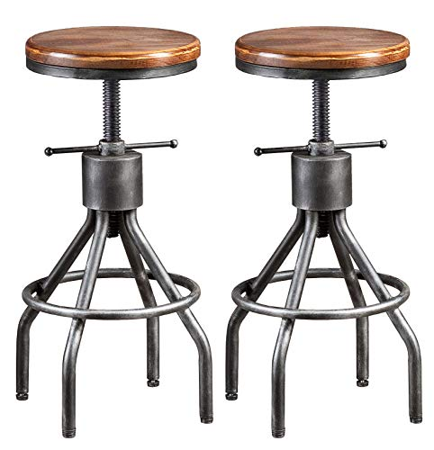 LOKKHAN Vintage Industrial Bar Stool-Height Adjustable Round Wood and Metal Swivel Bar Stool-Cast Iron Pub Height Stool,Assembly Not Required,23.4-33 inch(Set of 2)