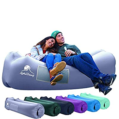 AlphaBeing Inflatable Lounger - Best Air Lounger for Travelling, Camping, Hiking - Ideal Inflatable Couch for Pool and Beach Parties - Perfect Air Chair for Picnics or Festivals (Space Gray) from AlphaBeing