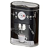 WHW Whole House Worlds Barista Cookie Tin, Realistic Espresso Machine Shape, Black, Graphic Gadget Accents, 5 L x 3 W x 7 1/2 H Inches, Food Safe, Fitted Lid, Air Tight Storage, Box, Container
