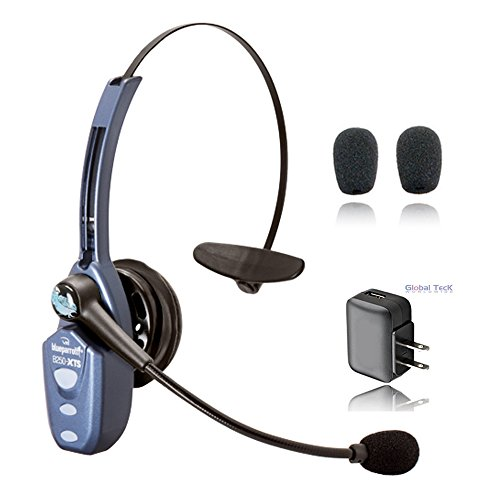 VXI BlueParrott B250 XTS Datalogic Compatible Bluetooth Headset Bundle (B250-XTS with Extra Cushions and Wall Charger)