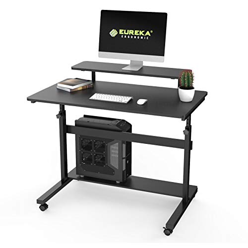 EUREKA ERGONOMIC Height Adjustable Standing Desk, Mobile Desk Home Office Computer Table with Detachable Hutch 41', Black