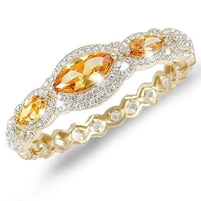 EVER FAITH Women's Austrian Crystal Zircon Drop Marquise-Shape Bangle Bracelet Clear Silver-Tone