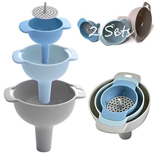 HomeDejavu 2 Set Imbuto da Cucina in Plastic, Imbuto Cucina 4 in 1 Imbuto nidificato con Manico e Filtro Staccabile Ideale per riempire spezie Polvere liquida Fagioli marmellate Conserve