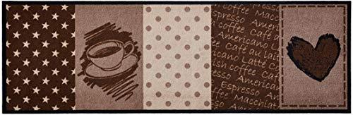 Waschbarer Küchenläufer Coffee Heart Braun 50x150 cm   102453