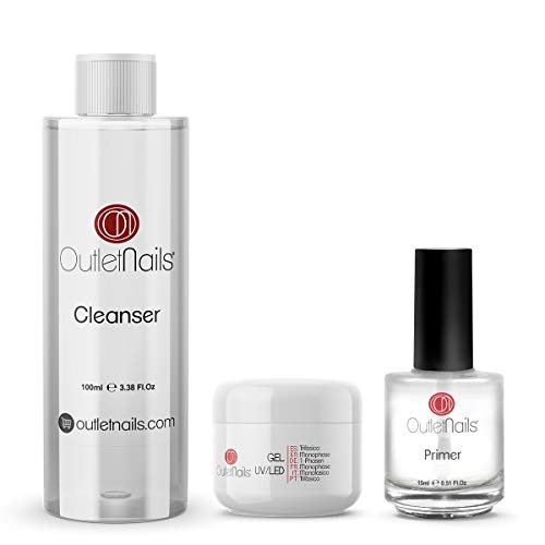 UV Gel Trifasico 3en1 15ml + Primer 15ml sin acido + Limpiador para uñas 100ml Cherry | Para uñas de gel de Outlet Nails