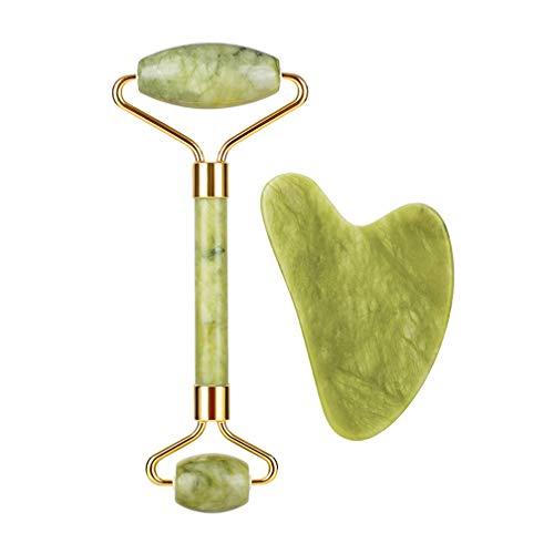 Juego de 2 rodillos de jade para cara de gua sha, antienvejecimiento, masajeador de jade para mujeres y señoras herramienta de belleza