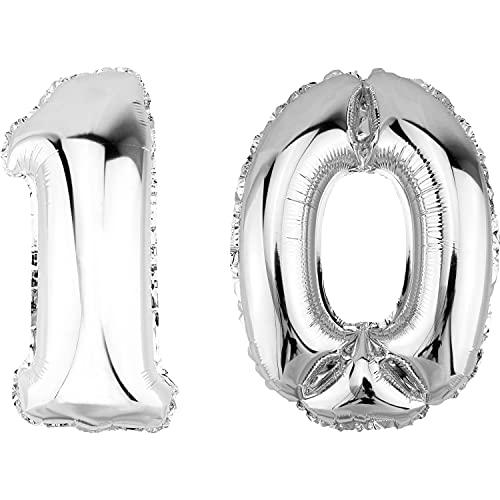 DekoRex Palloncino stagnola Compleanno Decorazione per l'aria ad Elio 100cm Argento nomero: 10