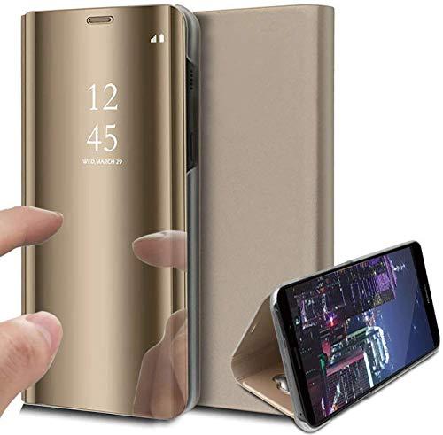 Samsung S10 fodral, bokstil klar vy spegel repsäker helkropp skyddande flip folio ultratunt vikbart stativ fodral för Samsung Galaxy S10 Plus (Samsung S10, guld)