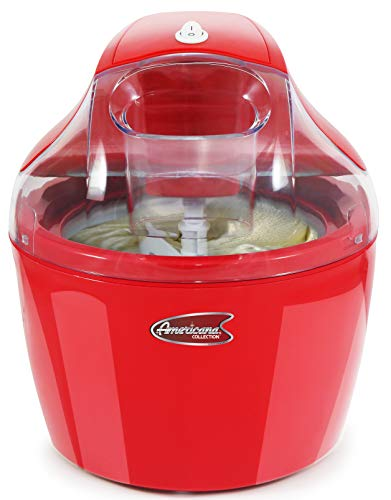 Maxi-Matic, Automatic Easy Homemade Electric Maker, Ingredient Chute, On/Off Switch, No Salt Needed, Creamy Ice Cream, Gelato, Frozen Yogurt, or Sorbet, 1.5 Quart, Red -  Americana, EIM-1400R