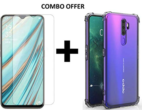 Casodon Bump Cushion Back Transparent Cover + Tempered Glass Combo Pack for...