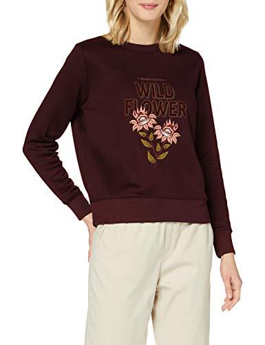 Scotch & Soda Maison Womens Sweatshirt aus Bio-Baumwollmischung mit Artwork-Stickerei Pullover Sweater, Aubergine 1185, M