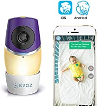Evoz Glow Wi-Fi Video Baby Monitor with Night Vision | Unlimited Range | Cry Detection | Talk Back | Shared Access | Evoz Baby Monitoring App for iOS and Android