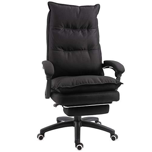 Vinsetto Bürostuhl massage, Chefsessel mit Massagefunktion, Gaming Stuhl, höhenverstellbarer, ergonomischer Drehstuhl, Massage Sessel, Nylon, Schwarz, 70 x 62 x 120-130 cm