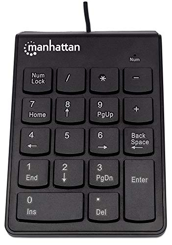 Manhattan Wired USB Numeric Keypad – 18 Full Size Keys & Ultra Slim Lightweight Ergonomic Number Pad Design - for Laptop, Desktop, Computer, PC – 3 Year Warranty - Black, 179911