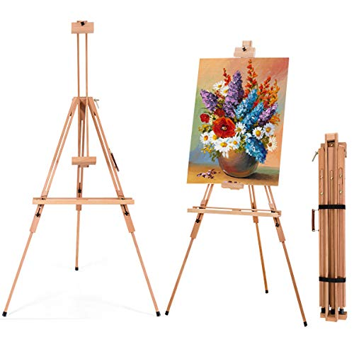 COSTWAY Foldable Tripod Easel, Beech Wood Studio Easels with Storage Tray,...