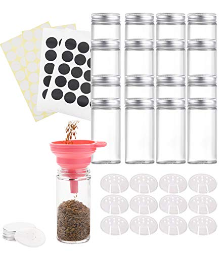 Tebery 12 Pack Round Spice Bottles 4oz Glass Spice Jars with Silver Metal Lids, Shaker Tops, Wide Funnel and Labels