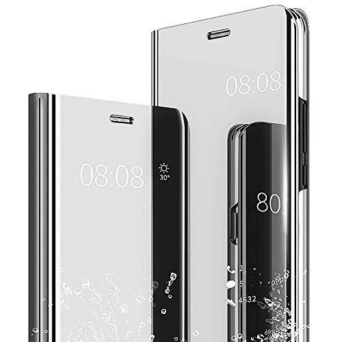 TOPOFU Funda Xiaomi Poco X3 NFC Funda,Flip Espejo Enchapado PC & PU Cuero Carcasa con Soporte Función Anti-Rasguño Protección Funda para Xiaomi Poco X3 NFC-Plata