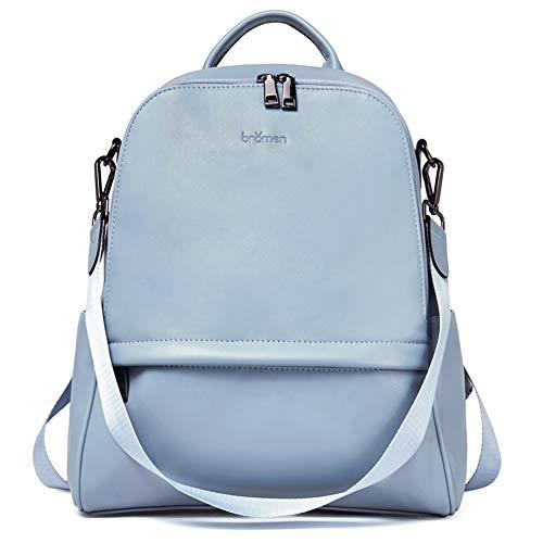 BROMEN Mochila de cuero antirrobo para mujer, bolso de hombro universitario, 1-azul, M, Mochila