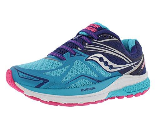 Saucony Women's Ride 9 Running Shoe, Navy/Blue/Pink, 6.5 M US