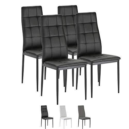 VS Venta-stock Set de 4 sillas Comedor Chelsea tapizadas Negro, certificada por la SGS, 42 cm (Ancho