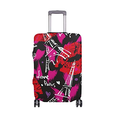 Travel Luggage Cover Protector Paris Eiffel Tower Love Lips Suitcase Baggage Cover Spandex for Adult Women Men Teen Fits 22-24 Inch