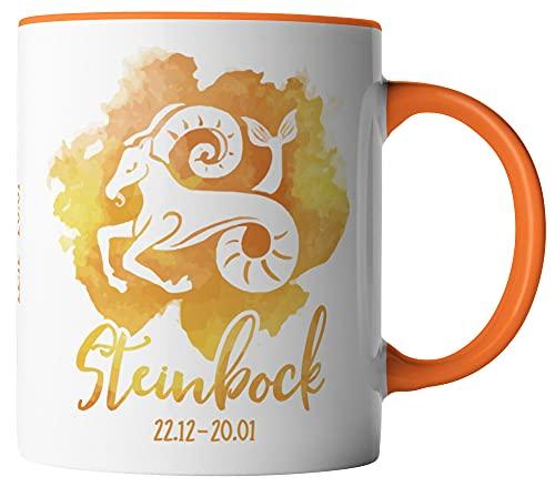 vanVerden Tasse - Horoskop Sternzeichen Steinbock 22.12. - 20.01. - beidseitig Bedruckt - Geschenk Idee Kaffeetassen, Tassenfarbe:Weiß/Orange