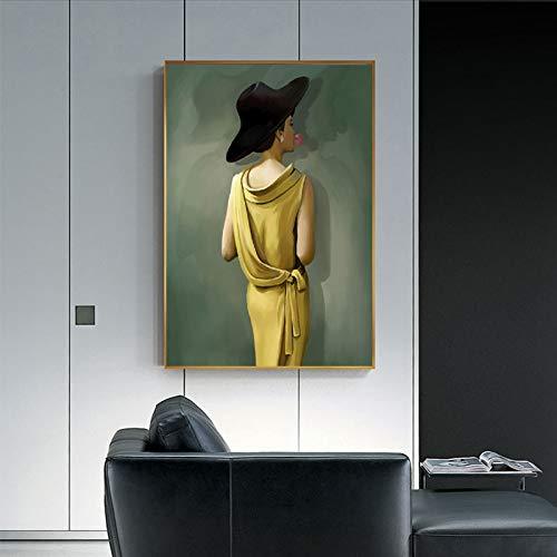 Geiqianjiumai Ölgemälde Porträt Poster und Drucke berühmte Blase Frau Leinwand Wand Wohnzimmer Dekoration rahmenlose Malerei 40x50 cm