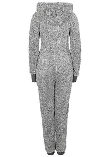 Eight2Nine Damen Jumpsuit aus kuscheligem Teddy Fleece | Overall | Ganzkörperanzug mit Ohren Dark-Grey - 3
