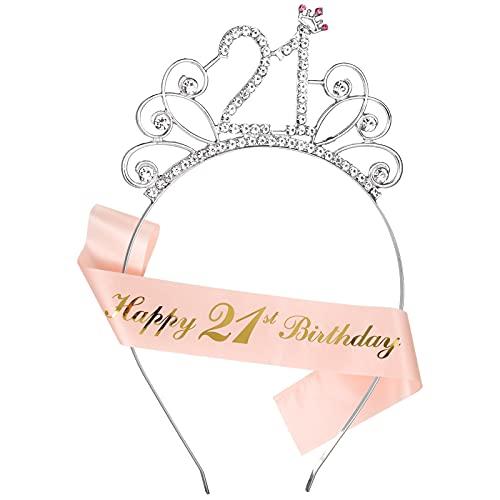 Smilcloud Krone Geburtstag 21 Geburtstagskrone Schärpe Krone Haarreif Tiara Geburtstags-Schärpe für 21 Geburtstag Mädchen Kinder Deko Accessoires Geschenk