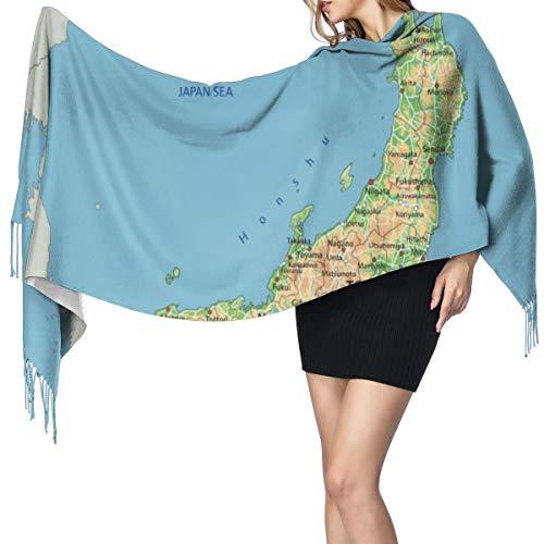 Blived Fransenschal für den Winter,lang,weich,Kaschmir-ähnlich,Sea High Detaillierte Japan Physische Karte Japanische Hokkaido Langer Schal,Warmer Schal