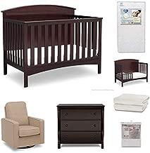 Delta Children Archer 7-Piece Baby Nursery Furniture Set – Includes: Convertible Crib, Dresser, Glider, Crib Mattress, Fitted Crib Sheets, Mattress Pad Cover & Toddler Guardrail, Dark Chocolate/Cream