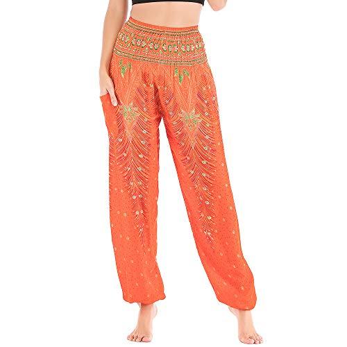 Nuofengkudu Damen Haremshosen High Waist Hippie Muster Baumwolle Pumphosen mit Taschen Leicht Weite Luftige Stoffhose Yogahose Sommerhose Strandhose(Einheitsgröße,Orange Pfau)