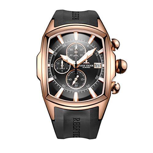 Relógios masculinos esportivos de luxo da Reef Tiger, relógios grandes militares ouro rosa, relógios impermeáveis RGA3069-T, NRGA3069-T-PBB