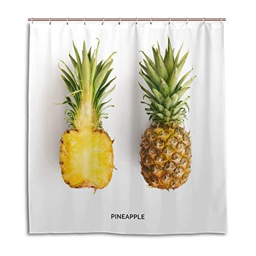 BKEOY Duschvorhang Ananas Druck Badevorhang Wasserdicht Schimmelfest waschbar Polyester Stoff Vorhang 167 x 182 cm mit 12 Vorhanghaken