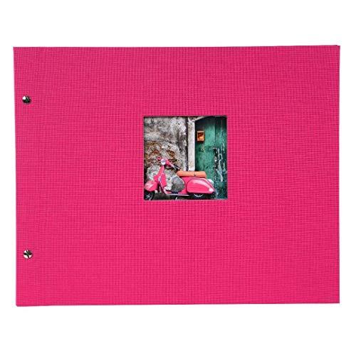 Goldbuch Schraubalbum mit Fensterausschnitt, Bella Vista, 39 x 31 cm, 40 schwarze Seiten mit Pergamin-Trennblättern, Erweiterbar, Leinen, Pink, 28978