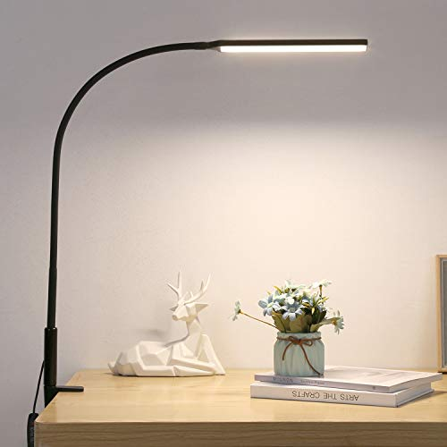 LMIX Lampada da Scrivania con Morsetto, Braccio Oscillante Dimmerabile, Lampada da Tavolo Architetto USB Flessibile, per Studio   Lettura   Lavoro   Casa   Ufficio (Nero A)